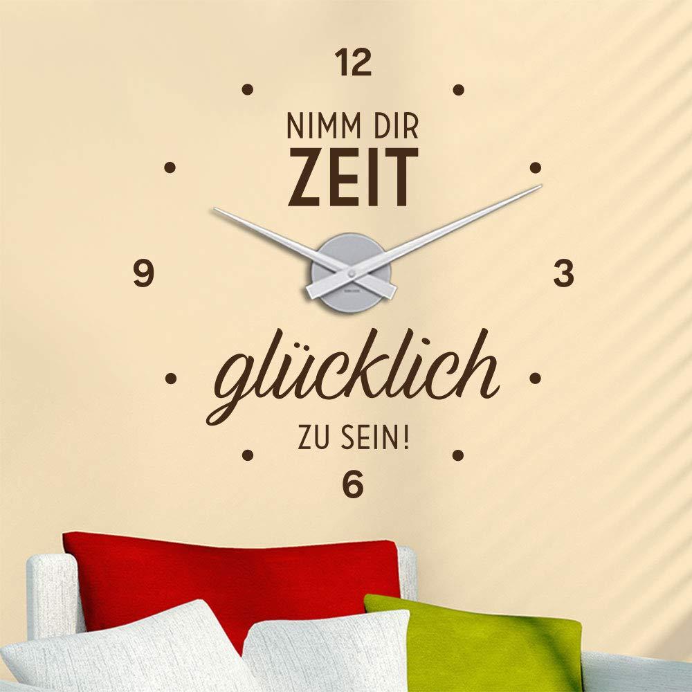 KLEBEHELD® Wandtattoo Uhr Nimm Nimm Nimm dir Zeit glücklich zu sein   Wanddeko für Zuhause, Wohnzimmer, Flur oder Büro   Farbe schwarz, Größe 46x47cm   Uhrwerk schwarz, Umlauf 44cm B07NY1N2DR Wandtattoos & Wandbilder 4ce4a9