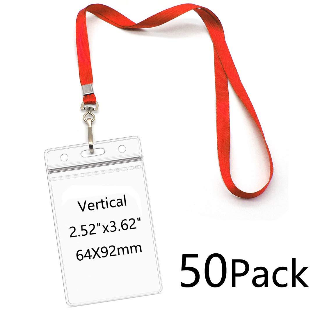 Nome tag porta badge con cordino rosso girevole j-gancio clip impermeabile Nametags protezioni infermiera scuola bambini 50/pezzi Vertical