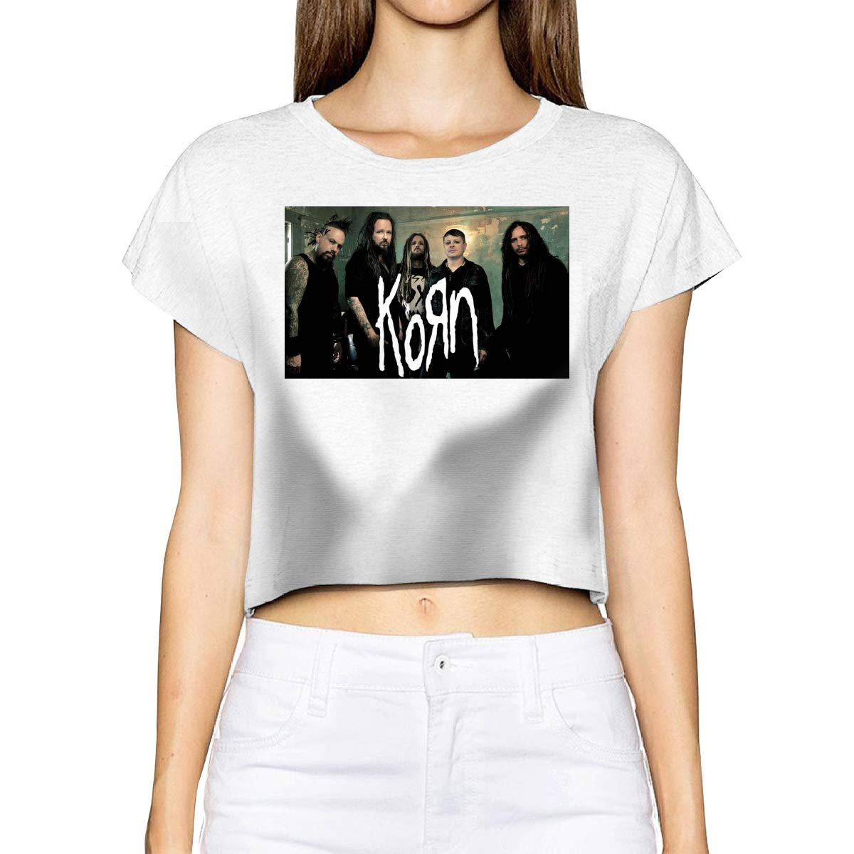 Warshland Women Crop Tops Korn Logo Short Sleeve Basic T Shirt Crew Neck
