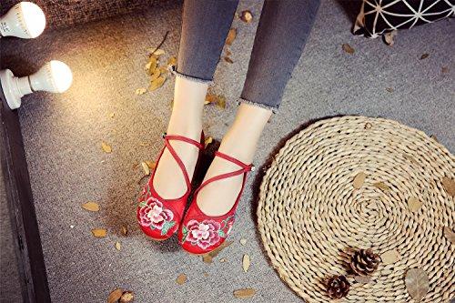 Lazutom para Mujer Vestir Sandalias de algodón de Red wXrX1qY