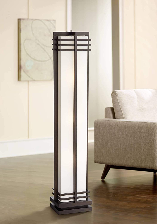 Art Deco Floor Lamp Espresso Wood Beige Linen Column Shade Standing Light for Living Room Bedroom Office – Possini Euro Design
