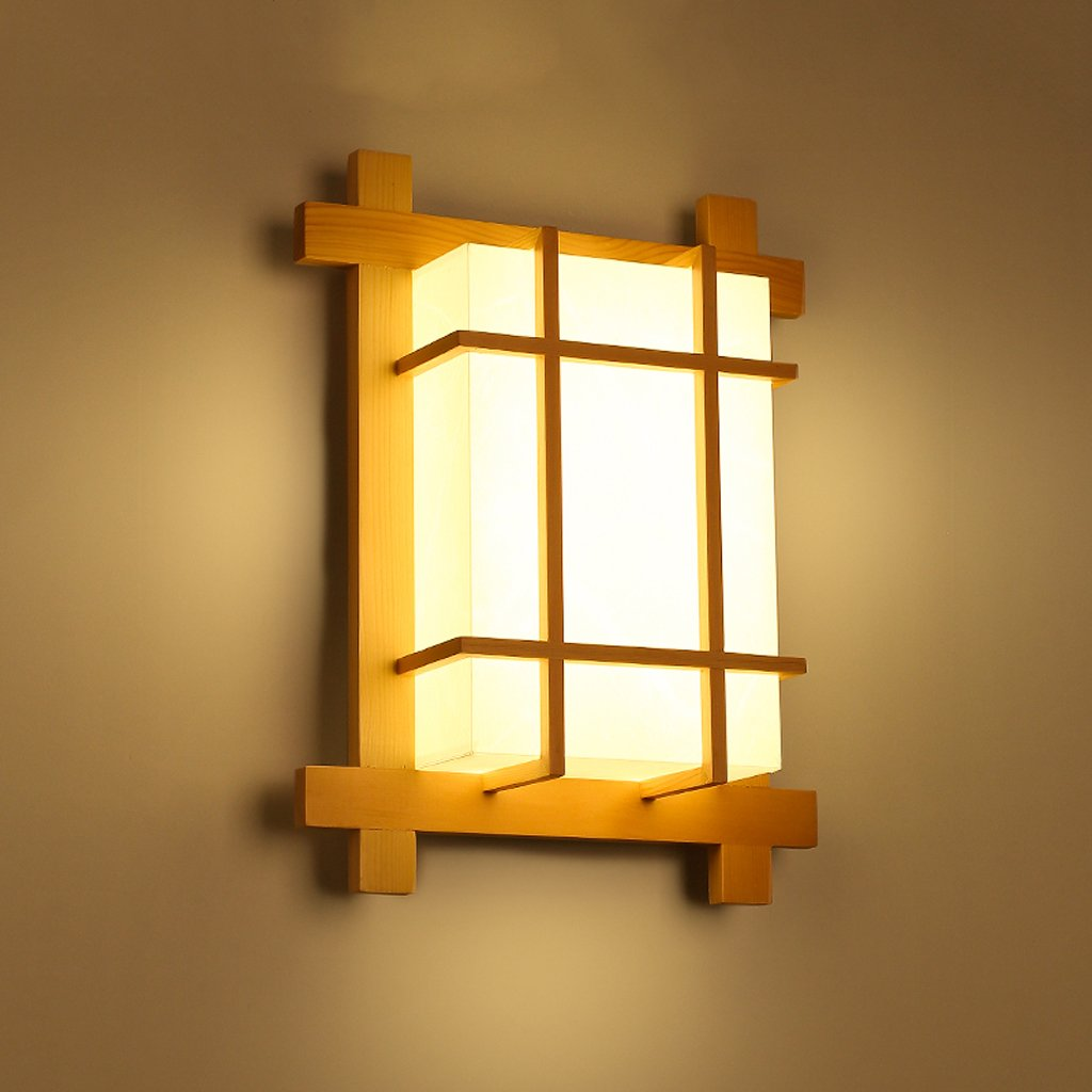 Lámpara De Pared De Madera Maciza Lámpara De Pared Japonesa Lámpara De Noche Balcón Pasillo Guan Guan Lámpara De Pared Led De Madera Lámpara De Techo Pequeña XXPP [Clase de eficiencia energética A++] BD-Madera lámpara de pared