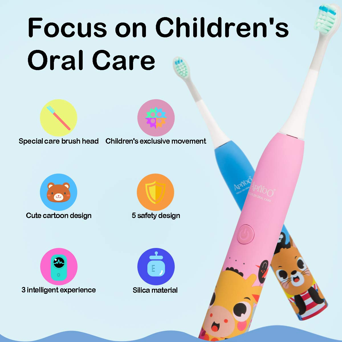 Apiyoo Kids Electric Toothbrush, A7 Sonic Wireless Rechargeable Toothbrush, IPX7 Waterproof with 3 Brushing Modes, 2 Min Smart Timer for Kids. (Pink) by Apiyoo (Image #2)