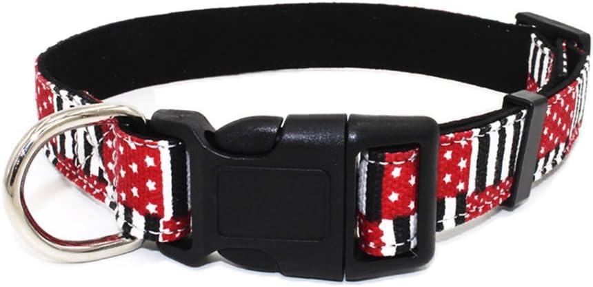 Newtensina Moda Collar de Perro Suave Patrón de Cuadros Bandera Patrón Lona Collares de Cachorro para Perros: Amazon.es: Productos para mascotas