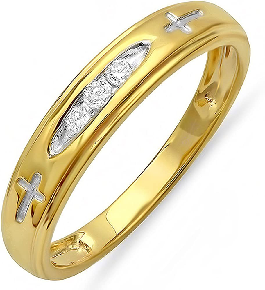 Dazzlingrock Collection 0.10 Carat 18K Yellow Gold Plated Sterling Silver 3 Stone Round Diamond Mens Band 1//10 CT ctw