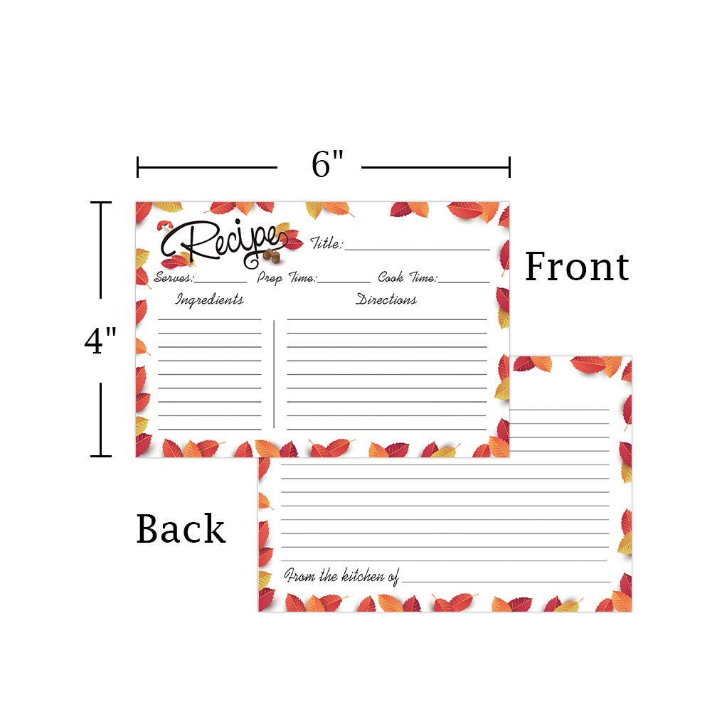 50 Recipe Cards SICOHOME 4x6 Recipe Cards Double Sided Recipe Cards for Fall Bridal Shower,Wedding