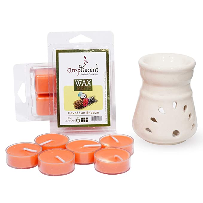 Buy Ampliscent Scented Wax Melts Tealight Candles And Ceramic Diffuser Combo Gift Set Hawaiian Breeze Package Content 9 Online At Low Prices In India Amazon In