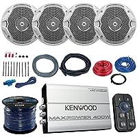 Marine Amp And Speaker Combo Of 4x JBL MS6510 6.5 Inch 150w White Boat Speakers Bundle With Kenwood 400-Watt 4-Ch. Waterproof Bluetooth Amplifier + Boss KIT2 Amp Install Kit + Enrock 50Ft 16g Wire
