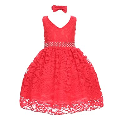 ee85371c072 Shanil Inc. Baby Girls Red Rose Floral Lace Overlay Beaded Waist Occasion  Dress 24M  Amazon.co.uk  Clothing