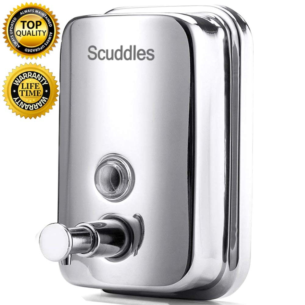 Scuddles 500ml Stainless Soap Dispenser Wall Mounted for Bathrooms Kitchens Homes Hotels Commercial Buildings Schools Or Hospitals.