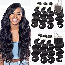Brazilian Hair Bundles with Closure Body Wave with Closure Virgin Human Hair with Closure with Baby Hair Soft and Bouncy Brazilian Hair with Closure Natural Color 10 12 14+10 Inch Free Part