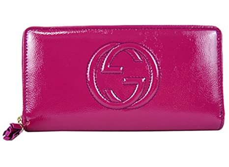 44d0b0331a9ad8 Gucci Soho Leather continental wallet Zipper 308004 Hot Pink Fuschia Patent  Leather: Amazon.ca: Luggage & Bags