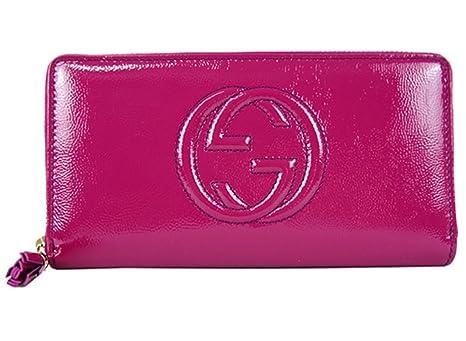 be9ddd23e99e Gucci Soho Leather continental wallet Zipper 308004 Hot Pink Fuschia Patent  Leather: Amazon.ca: Luggage & Bags