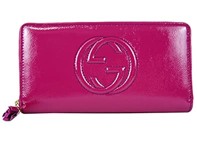 7a23fd24de4 Gucci Soho Magenta Pink Patent Leather Zip Around Wallet 308004 ...