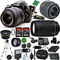 Nikon D3200 - International Version (No Warranty), 18-55mm f/3.5-5.6 DX VR, Nikon 70-300mm f/4-5.6G, 2pcs 16GB Memory, Case, Wide Angle, Telephoto, Flash, Battery, Charger