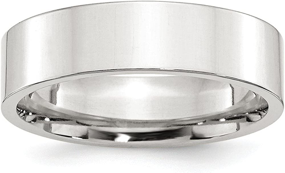Sterling Silver Wedding Band Ring Comfort Flat Polished 6 mm 6mm Comfort Fit Flat Band