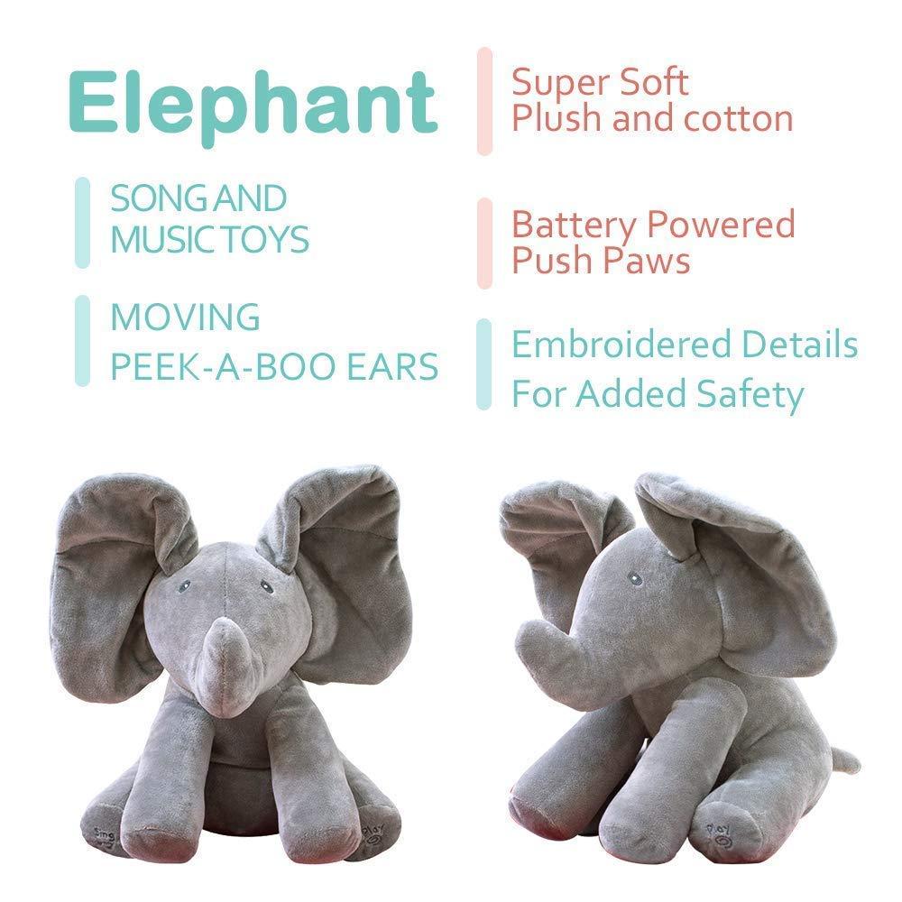 blue Peek A Boo Elephant Stuffed Animal Toy Plush Elephant Doll Play Electric Music Education Birthday Christmas Thanksgiving Gifts for Kids Children