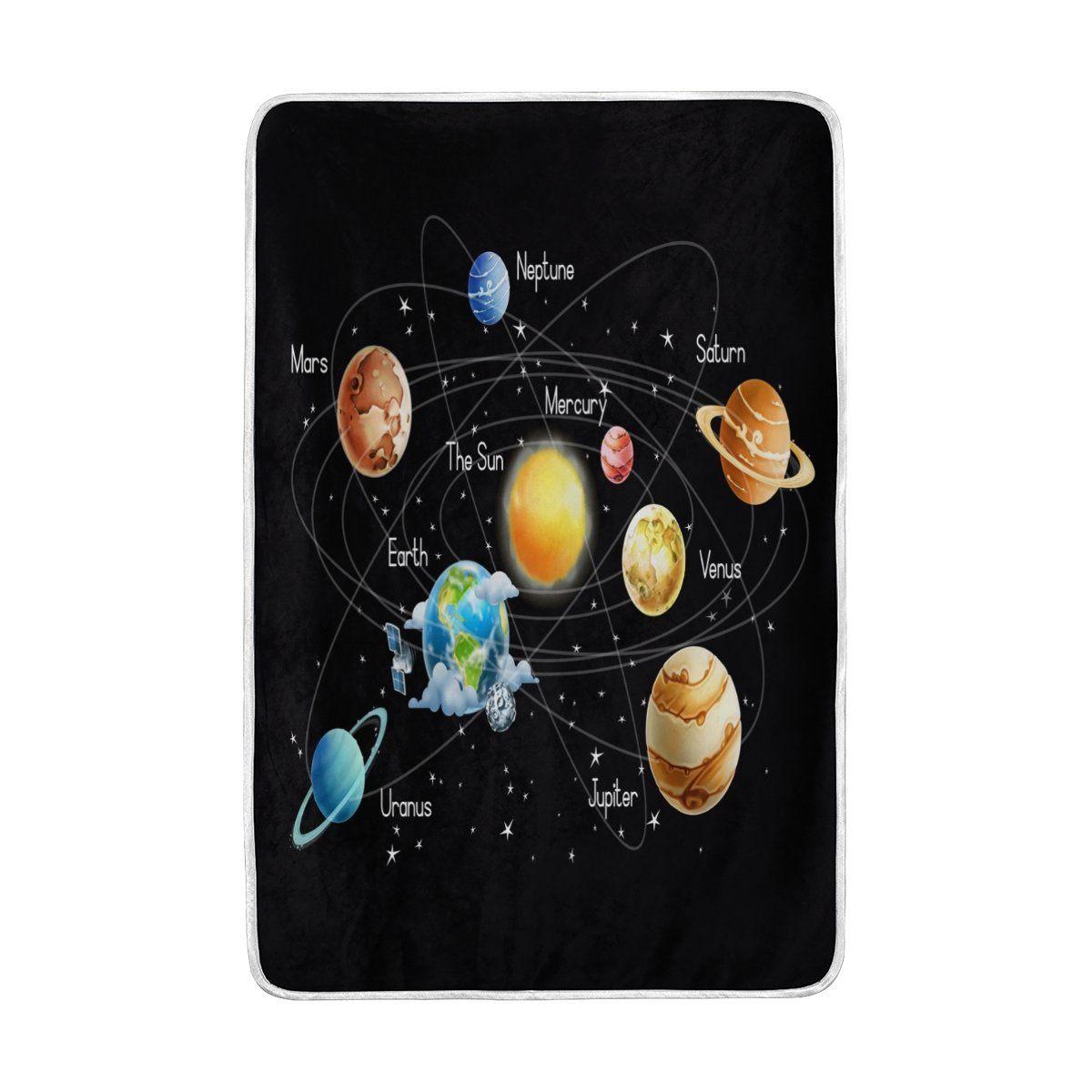 ALAZA Galaxy Solar System Blanket Lightweight Soft Warm Blanket Twin Size 60x90 inches for Bed Sofa Couch Office Home Decor