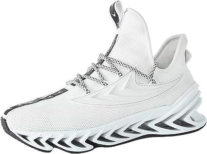 Zapatillas Deporte Hombre Zapatos para Correr Athletic Cordones Jorich Zapatillas De Deporte Respirable para Correr Deportes Zapatos Running Hombre (Blanco, EU:44 27cm/10.6