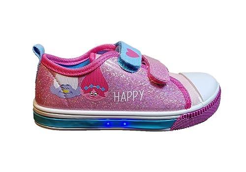 Cerdá Zapatillas con Luces Trolls - Bambas de Lona con Luz Poppy. Color Fucsia Brillos