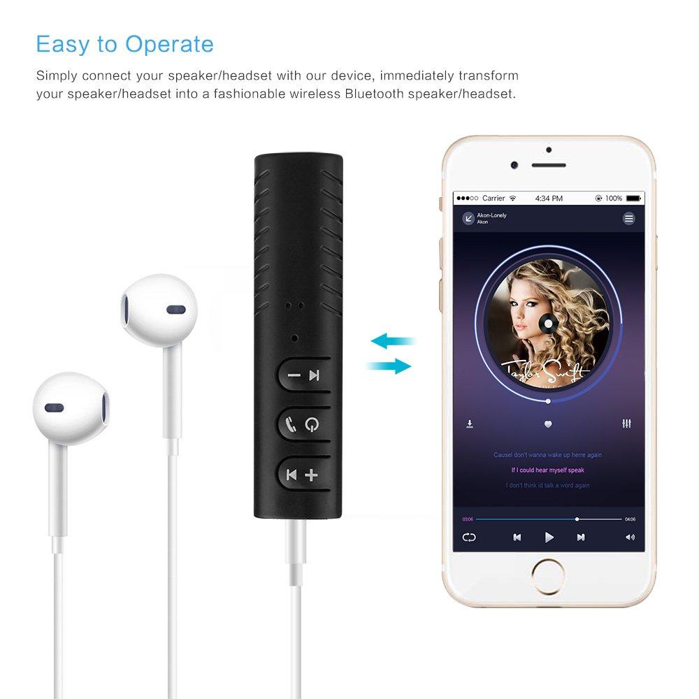 Ricevitore Bluetooth Auto SUNJULY 4.2 Adattatore Bluetooth Audio con Microfono Veicolo Nero//Bianco//Blu Cuffia Uscita Stereo Compatibile con Il Sistema Audio 3.5 mm Jack per Casa Telefono