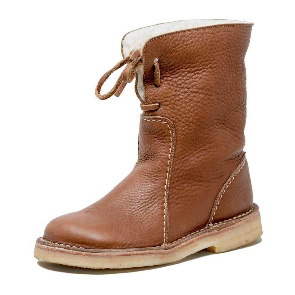 Damen Slip-On Schneeschuhe Comfy Flat Mid Calf Boot f/ür Walking Shopping Trekking DZTIAN Frauen warme Ankle Snow Boots