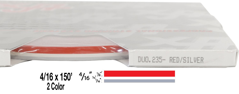 "- 229-Burgundy//Silver Metallic Universal Duo-Tone 0204229 4//16 x 150 1//8/"" Stripe, 1//16 Gap, Then 1//16/"" Stripe Auto Customizing 2-Color Dual Pinstripe"