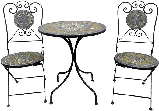 Ensemble de balcon 3 pièces en métal et mosaïque avec table de jardin ronde  de 60 cm de diamètre et chaises de jardin