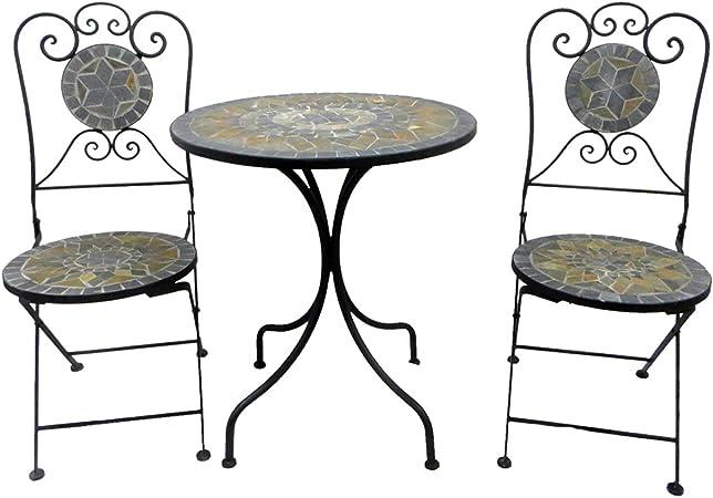 Amazon De Balkonset 3tlg Metall Mosaik Gartentisch Rund O60cm