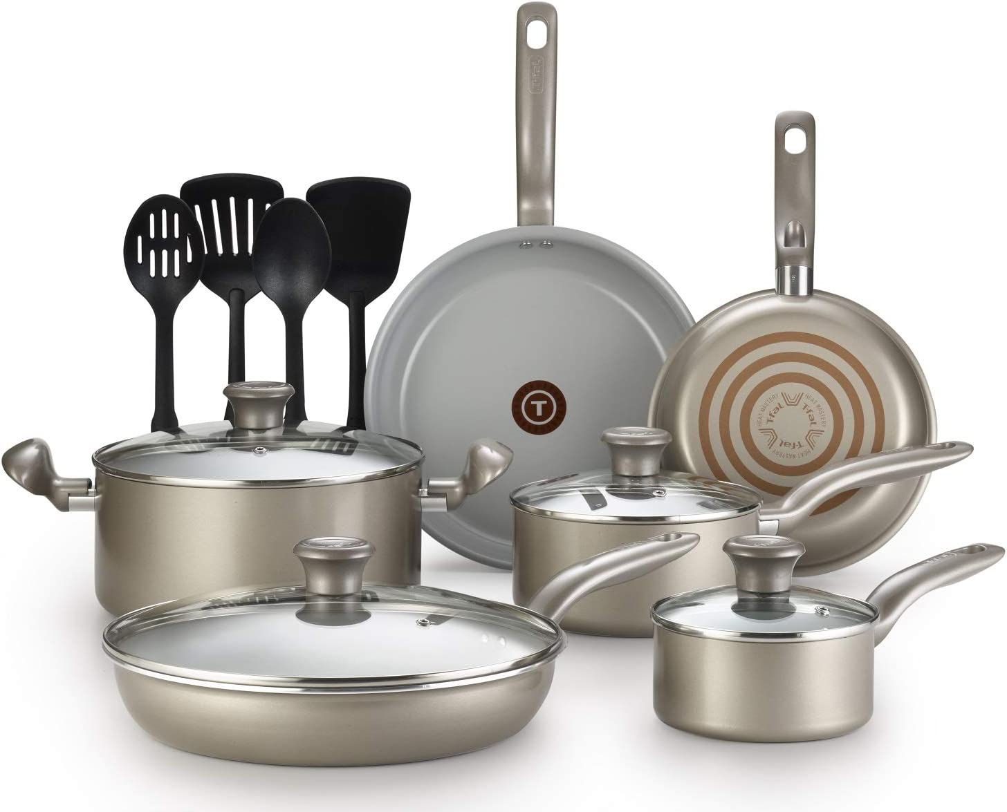 T-fal G919SE64 Initiatives Ceramic Nonstick Dishwasher Safe Toxic Free 14-Piece Cookware Set, Gold: Kitchen & Dining