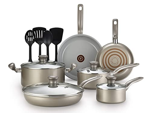 T-Fal 2100088763 14 Piece Ceramic Dishwasher Safe Nonstick PTFE PFOA & Cadmium Free Cookware Set