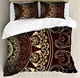 Ambesonne Mandala Duvet Cover Set King Size, Vintage Ethnic Asian Spiritual Cosmos Pattern with Swirled Floral Leaves Artwork, Decorative 3 Piece Bedding Set with 2 Pillow Shams, Burgundy Gold
