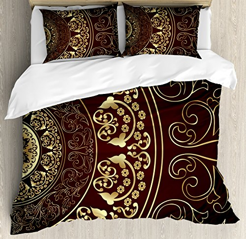Asian Duvet Cover (Ambesonne Mandala Duvet Cover Set, Vintage Ethnic Asian Spiritual Cosmos Pattern with Swirled Floral Leaves Artwork, 3 Piece Bedding Set with Pillow Shams, Queen/Full, Burgundy Gold)