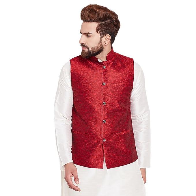 CRAFTSTRIBE Chaqueta de Hombre Maroon Jacquard Silk Designer ...