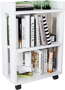 Wooden Bookshelf with Wheels Simple,3-Layer Bookcase Floor Simple Small Bookshelf, Wood Storage Rack for Office Home School Shelf