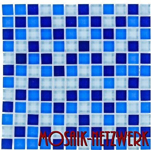 Glasmosaik Fliesen blau Wand Boden Dusche WC K/üche 10 Matten Art es-29242/_f