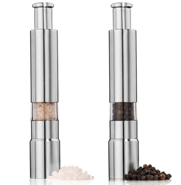 EVIICC Salt and Pepper Mills Grinder Manual Spice Grinder 2 Packs Set - Stainless Steel Silver