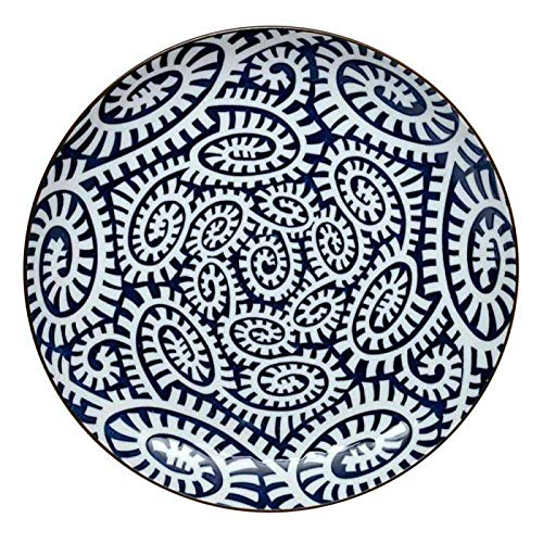 Tokyo Design Studio Karakusa Blue Plate 21.5 x 3 cm, Porcelain White, 21.5 x 3 x 2 cm