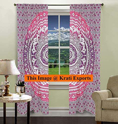 (Krati Exports Bohemian Beautiful Ombre Color Mandala Curtain Panels (Purple))