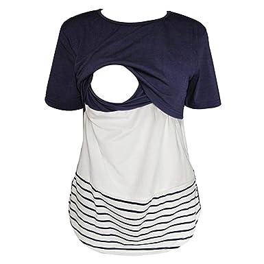 3faaa6086ac5e WEIMEITE Lace Striped Breastfeeding Clothes Women Nursing Shirts Short  Sleeve Nursing Tops Navy Blue S