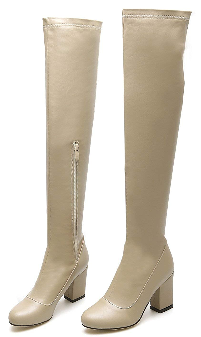Chic Stretchy Slim Chunky High Heel Tall Boots Unm Womens Almond Toe Over The Knee Boots with Zipper