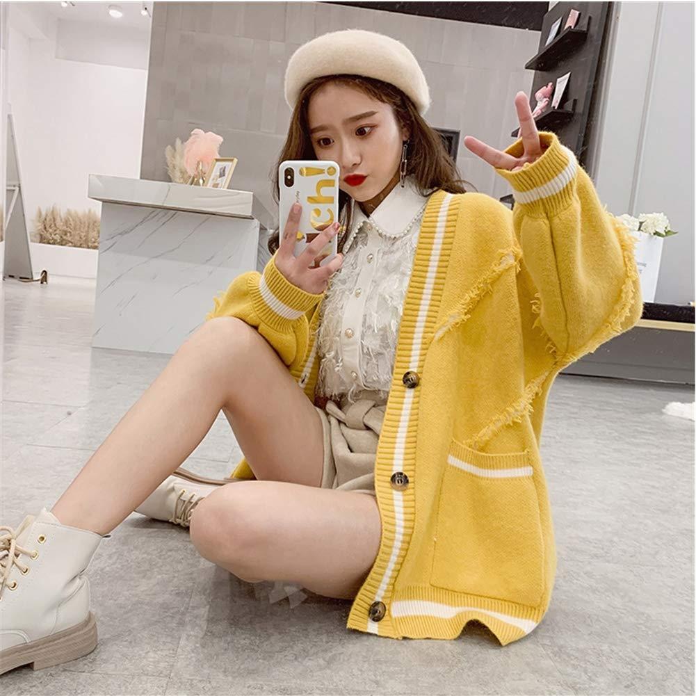 Yellow Women's Contrast Stripe Vneck Button Knit Long Sleeve Cardigan Sweater
