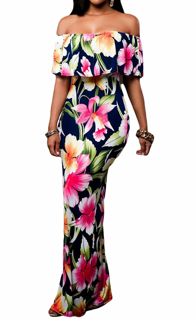 Happy Sailed Flowers Off Shoulder Ruffle Party Homecoming Maxi Dress S-XL HS61189-P