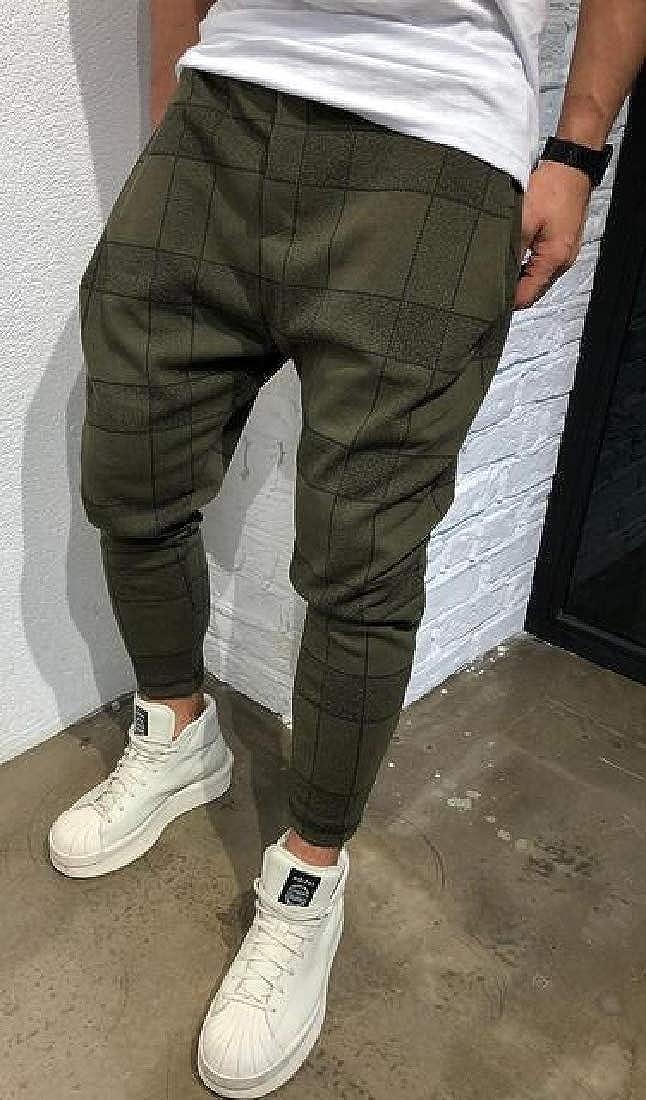 UUYUK Men Casual Plaid Hip Hop Drop Crotch Loose Fit Harem Jogger Pants