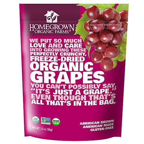 Freeze Dried Grape Snack by Homegrown Organic Farms - Organic Non-GMO Freeze-Dried Grape Chips - All-Natural Vegan Freeze Dried Fruit 1.2 - Fruit Farms Dried