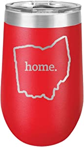 Ohio Home Outline US State United States - Polar Camel 16 oz. Vacuum Insulated Stemless Tumbler w/Lid (Red)