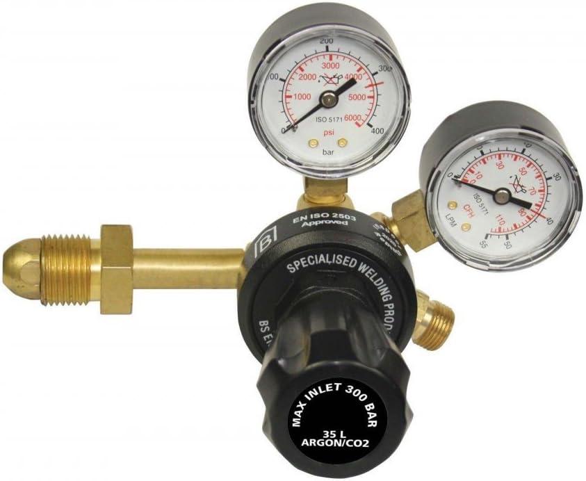 Mig Tig Welding 0-315 Bar for Gas Bottle with W21.8 Outlet HUKOER Argon CO2 Pressure Regulator