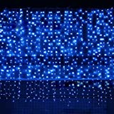 300 blue lights - Bjour BGGD-33 18W Curtain Icicle Lights Christmas String Fairy Light Blue, 300 LEDs, 8 Lighting Modes, 9.84ft Length x 9.84ft Width