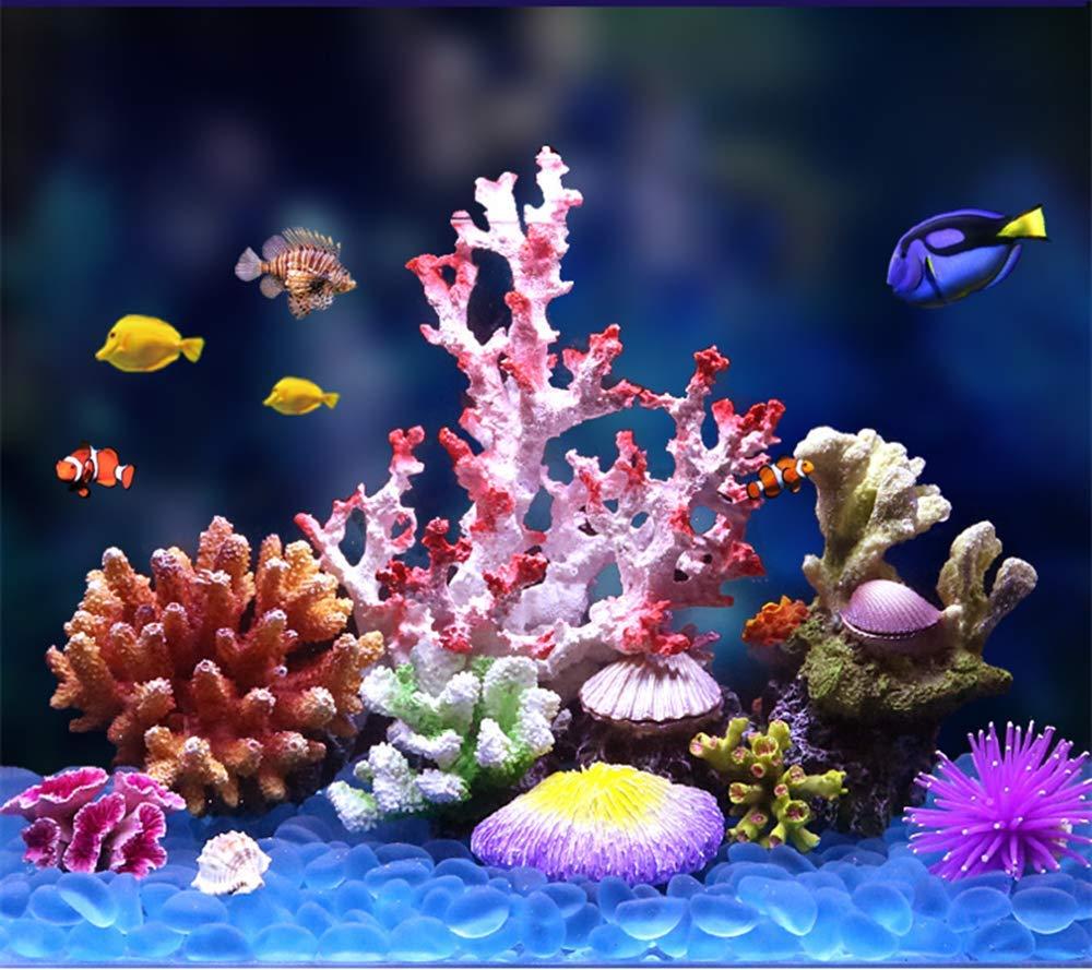 ZDJR Adorno de Acuario de Coral, Planta de Coral Artificial para Acuario Decorativo, exhibición de Escultura de Resina para decoración del hogar o Acuario, ...