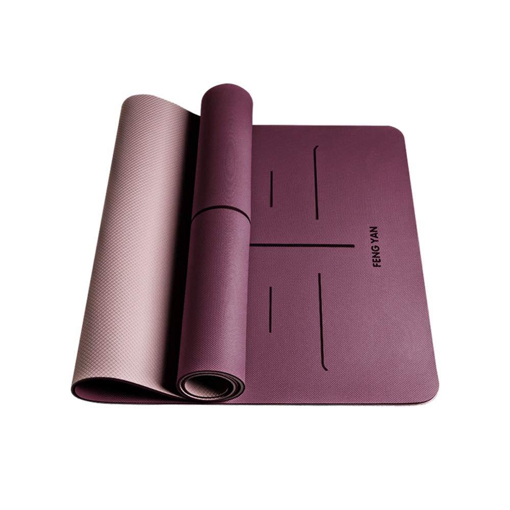 YD ヨガマット - 初心者男性と女性のフィットネスヨガのピラティス多機能ヨガマット80cm厚いロングノンスリップスリーピースセット[6色オプション] /& B07M77T43R 6mm|Purple+blush powder Purple+blush powder 6mm